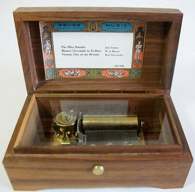 Vintage Reuge 3 Tune Music Box CH 3/36 Working.