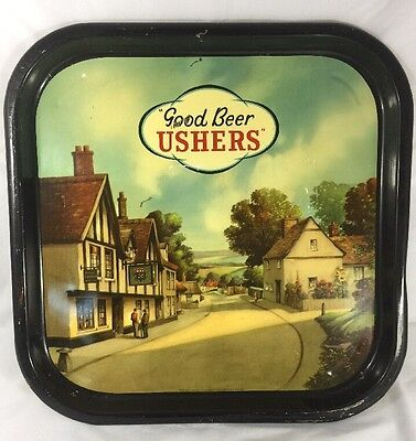 """Antique English Hand Painted Tray """"Good Beer Ushers"""" RARE VINTAGE"""