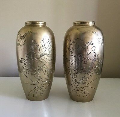 Two Antique Brass Japanese Vases Asian Antiques Vases Pair Of