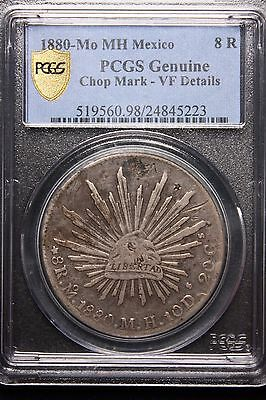 1880 8 Reales Mexican MO- MH CHOP MARKED FRONT AND BACK PCGS VF  Rare Chopmarks