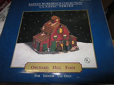 Santa's Workbench - Porcelain Christmas Village Orchard Hill Farm - Lighted