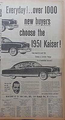 Large 1950 newspaper ad for Kaiser - Everyday over 1000 buyers choose Kaiser