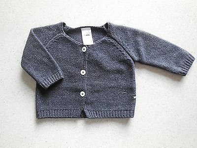 'bonds' Baby Boy Girl Warm Charcoal Cardigan Size 000 Fits 0-3M