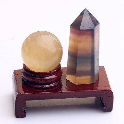 Natural  Fluorite Quartz wand POINt Healing And Calcite Crystal Sphere ball