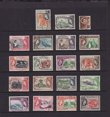 DOMINICA 1954 QE DEF COMPLETE SET 19 STAMPS additional 3c, 5c, $4.80 FINE U