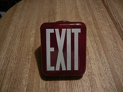 RED Vintage EXIT Sign Lamp Light Theater Art Deco glass globe