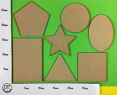 MDF Shapes -Set of 7- Circle, Rectangle, Oval, Star, Square, Triangle & Pentagon