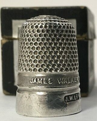 JAMES WALKER. THE LONDON JEWELLER - Sterling Thimble - ca1928 - with Box