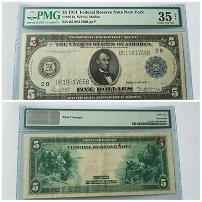 1914 $5 NEW YORK Federal Reserve Large Size Note PMG 35 Fr 851a White/Mellon