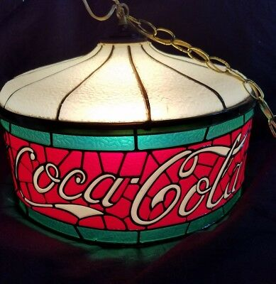 """Vintage Large Tiffany Style Coca Cola Hanging Light Shade Coke working 16"""" wide"""