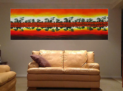 huge Aboriginal Art Painting Landscape Australia Murray River By Jane COA