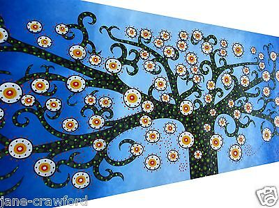 "Oil Painting Art Aboriginal Canvas by Jane Crawford  tree 47"" x 32"" Australia"