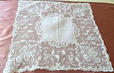 Beautiful Vintage Embroidered Netlace & Linen Wedding Hanky Ss927