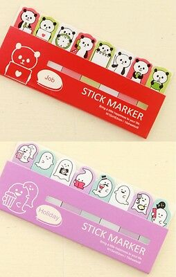 Cute Post it Marker Note Sticker Stationery - Job Panda & Holiday Ghost - 2packs