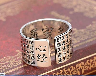 Free shipping Retro (Tibetan silver ) Buddhist heart sutra ring -Special sales