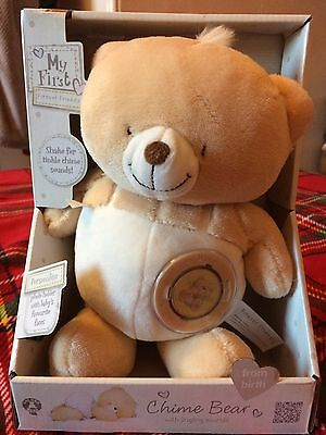 My first forever friends chime teddy white /beige with photo disk BNIB.