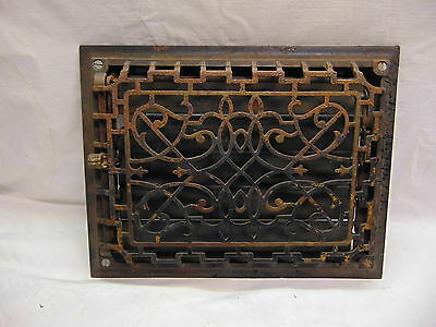 #4-1890's Antique Ornate Victorian Cast Iron Black Wall Grate Register Vent