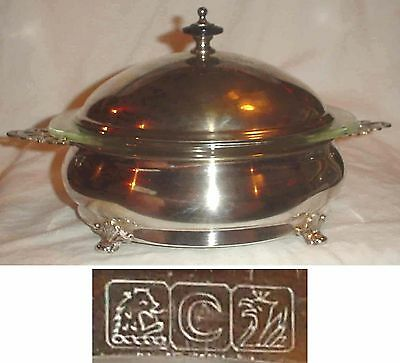 SILVERPLATE COVERED CASSEROLE 1 QT PYREX BOWL by CRESENT1958 HORSE SHOW TROPHY