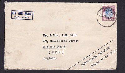Malaya Singapore 1950 Used Airmail Cover to Newport GB with $1 Postage