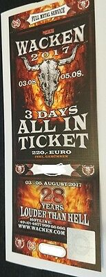 Wacken 2017 3 Days All in Ticket  03.08-05.08.2017