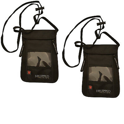 2 Travel Security Passport ID Holder w Neck Strap, Transparent Cover Mens Wallet