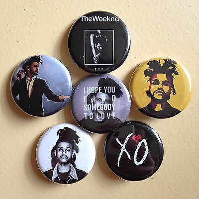 The Weeknd set of 6 pin back buttons 1.25""