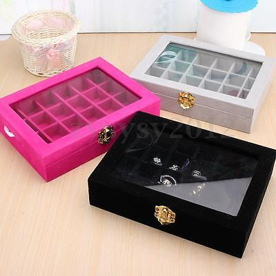 New Velvet Glass Jewelery Ring Display Case Tray Holder Earring Storage Box UK