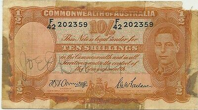 Australia 10 Shillings 1942 Wwii ~ Autographed By Joe E. Brown Actor & Comedian