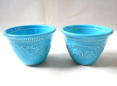 (2) Genuine Oven Serve Ware USA TS & T Taylor Smth & Taylor Custard Cup BLUE
