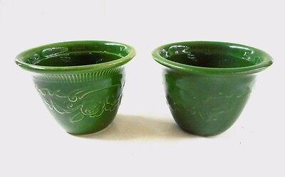 (2) Genuine Oven Serve Ware USA TS & T Taylor Smth & Taylor Custard Cup GREEN