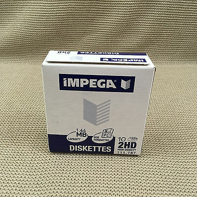 Impega 10 Diskettes 2HD High Density 1.44MB Capacity Floppy Disks DOS Formatted