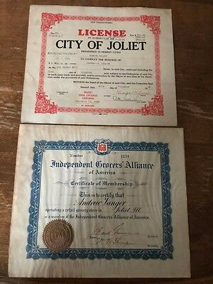 Pair of 1936 Licenses-Alcohol and Grocers Alliance-Joliet I.L.-Nice for Framing