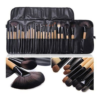 24Pcs Wood Professional COSMETIC BRUSH SET Kit & Bag fit with Bobbi Brown Makeup