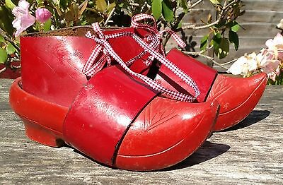 Genuine Vintage Red Dutch Leather & Wooden Child's Clogs 14 1/9