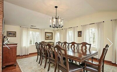Large dining table, 8 chairs and 2 armchairs