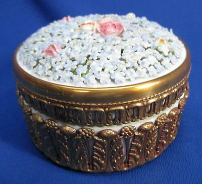 German Elfinware Round Box With Blue Flowers & Pink Roses Peeking Out