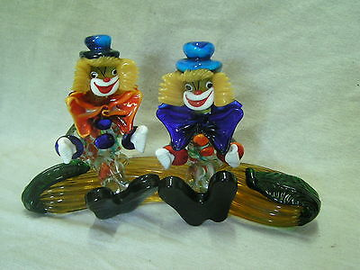 Murano Italian Art Glass Double Clowns Sitting On a Plant Very Rare Lot #1