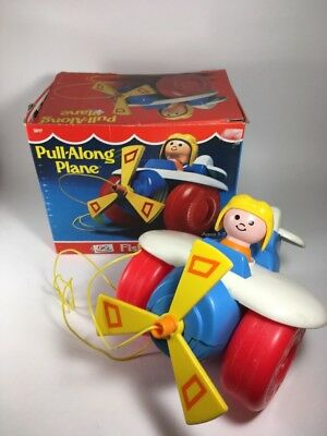 Vintage 1980s Fisher Price Pull-Along Plane #2017 Plastic Airplane Toy w/ Box