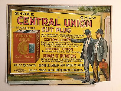 Central Union Cut Plug Tobacco Hanging Sign