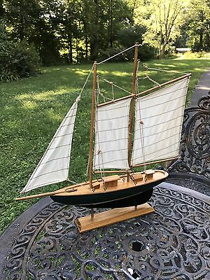 Retro Solid Wood and Canvas Tri-Masted Yacht or Sail Boat Model