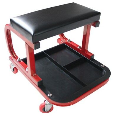Mechanic Seat Creeper Cart Garage Stool Auto Shop Padded Roller Repair Tool Tray