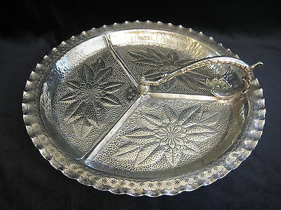 Rare Vintage Brazil Boliviano Nickel-Silver 3 Divided Footed Tray W/handle, 12""