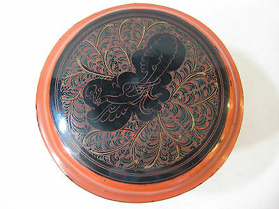 "Vintage Hand Painted Japanese/Chinese Asian Laquer Box W/ Lid, 3 3/4"" Tall"