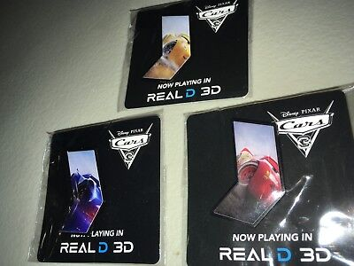 Disney's Cars 3 AMC Stubs Exclusive Collector's Pins- Complete set of 3, 2017