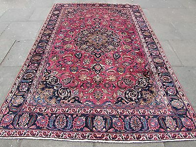 Old Traditional Hand Made Persian Rug Oriental Wool Red Large Carpet 290x192cm