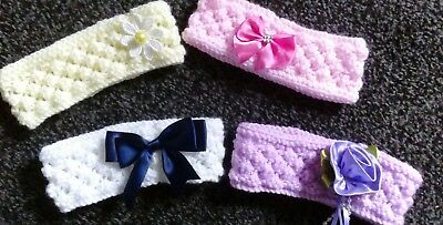 New Hand Knitted Baby Headband Bundle To Fit 0-3M