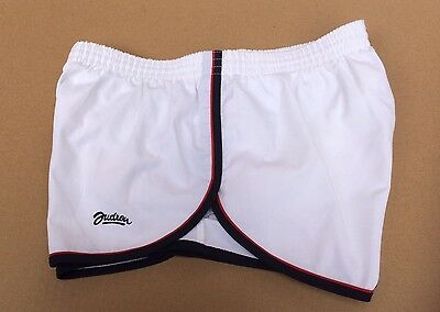 Vintage Sprinter Style Shorts, PolyCotton, White With Red & Blue Trim, Size 97cm