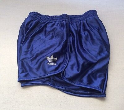 Vintage adidas Ultra Shiny Wet Look, Blue Sprinter Shorts, Size 26""