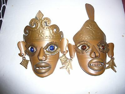 Lot of 2 Mexican Metal Mask Wallhanging