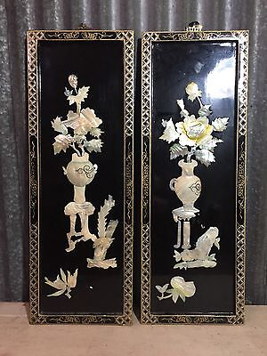 2 VTG ORIENTAL Flower BLACK LACQUER WOOD MOTHER OF PEARL, WALL ART PANELS 27""